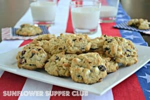 Red, White and Blue Cookies (Oatmeal Cookies with Cranberries ...